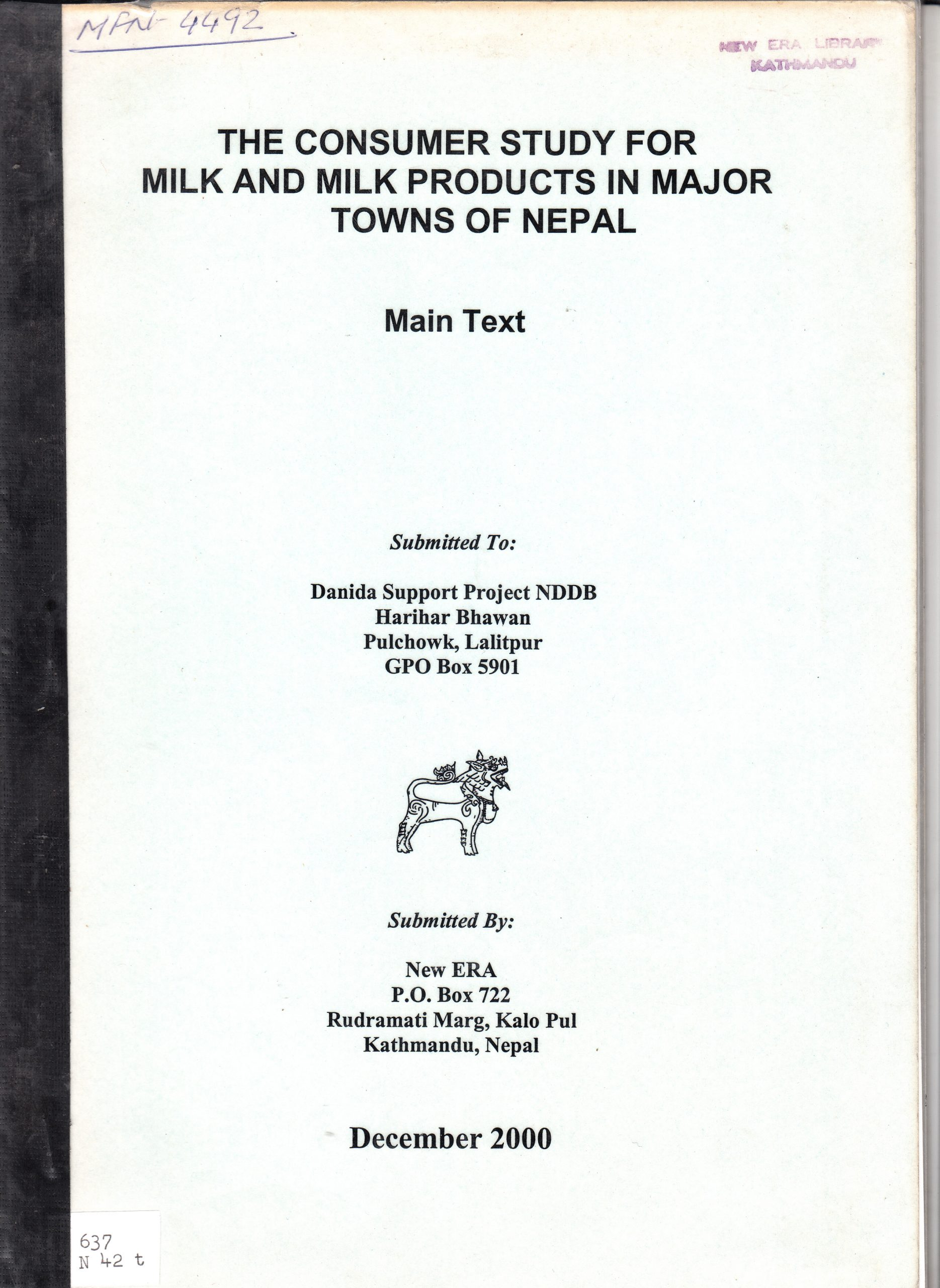 The Consumer Study for the Milk and Milk Products Market in the Major Towns of Nepal