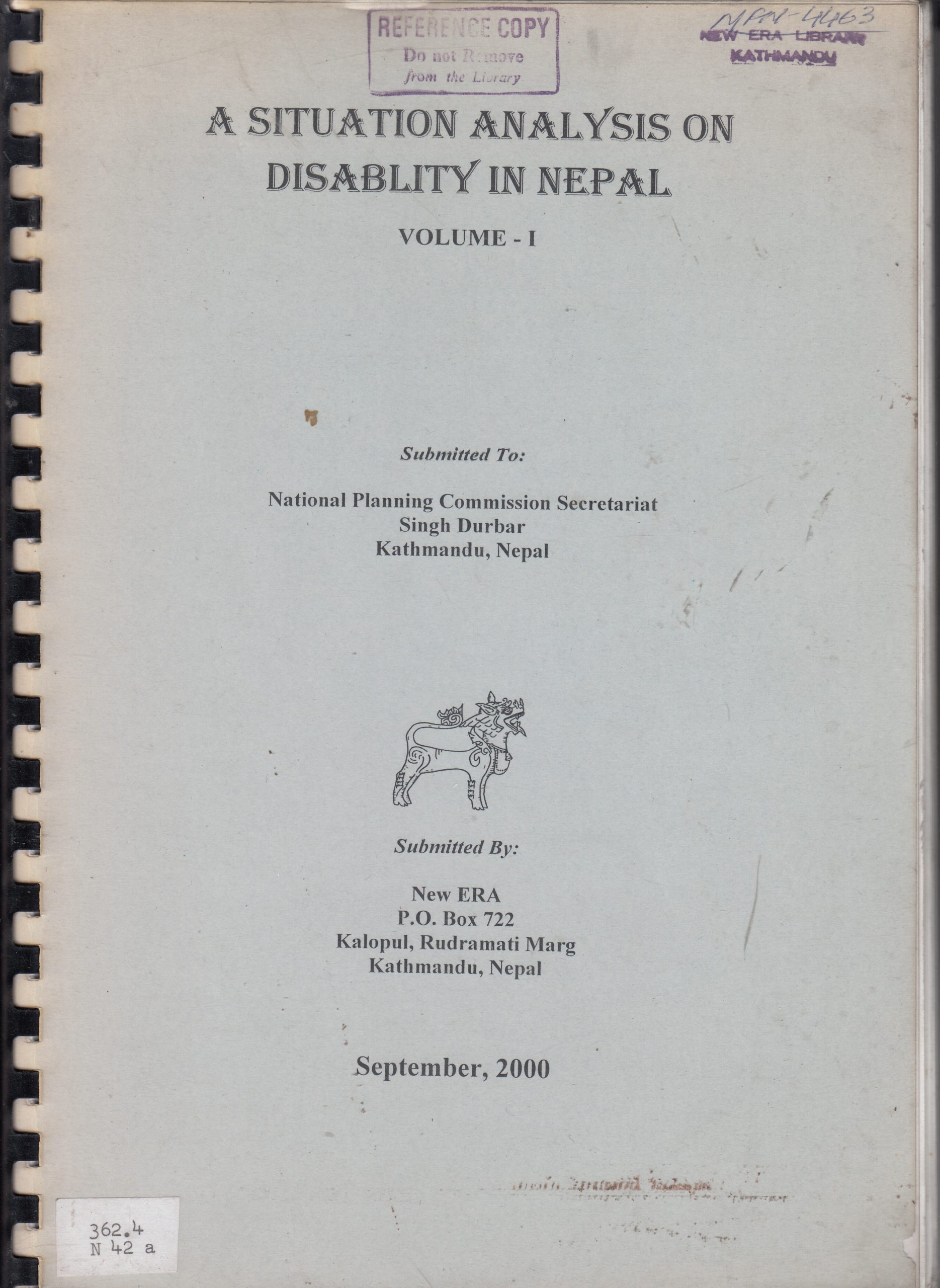 A Situation Analysis on Disability in Nepal