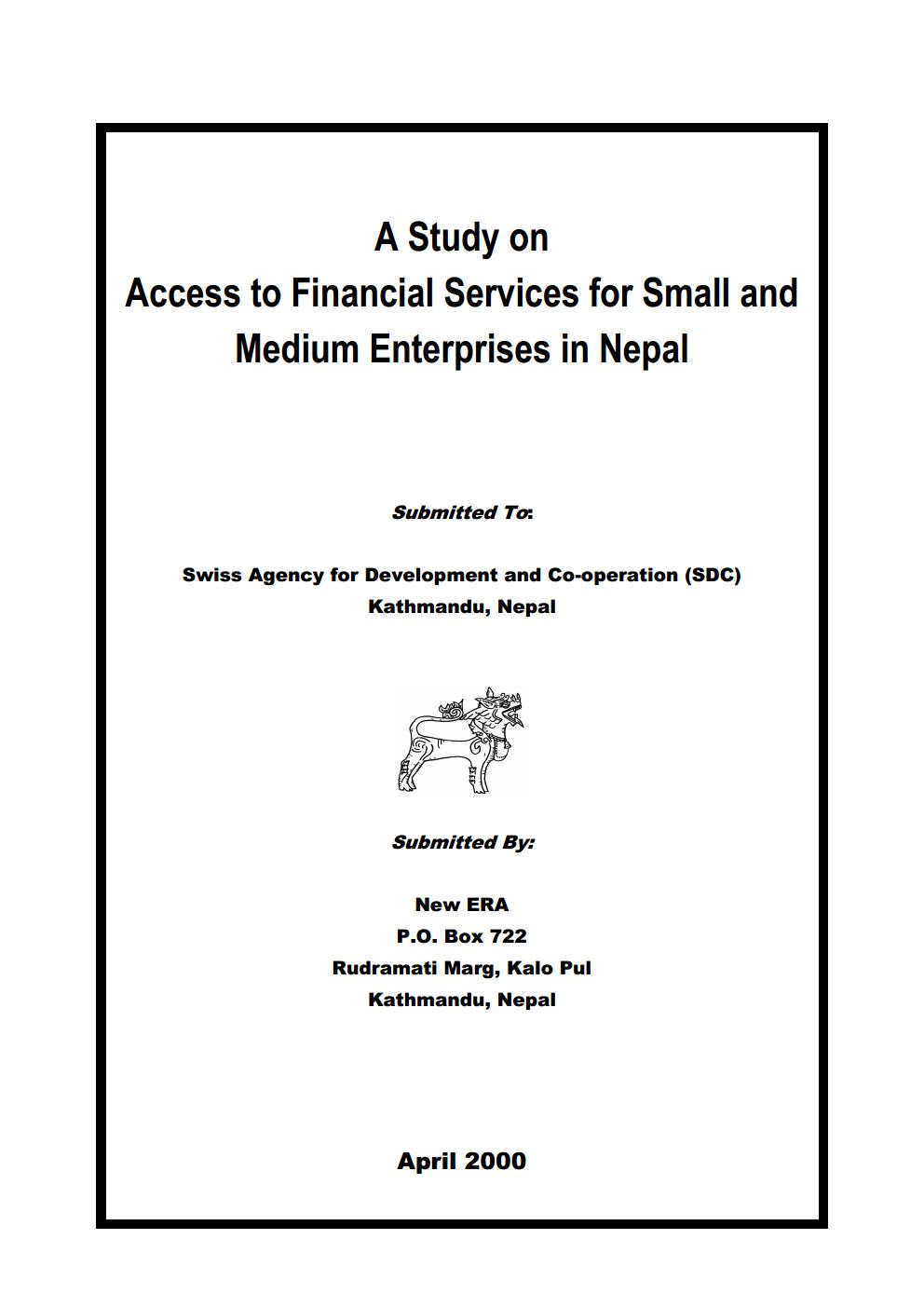 A Study on Access to Financial Services for Small and Medium Enterprises in Nepal