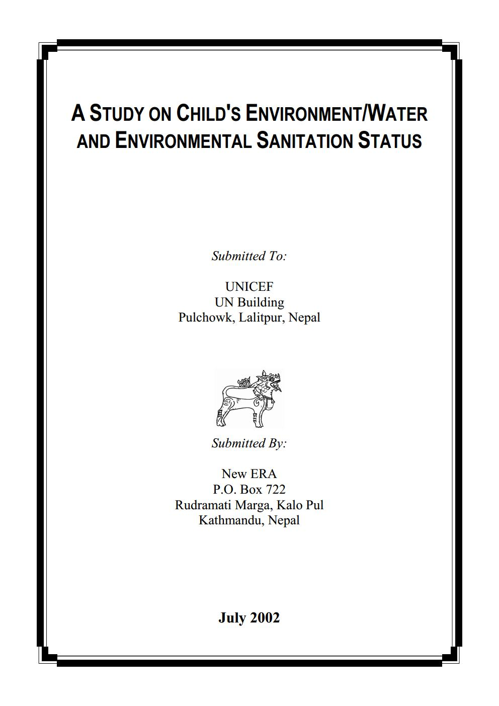 A Study on Child's Environment, Water and Environmental Sanitation Status