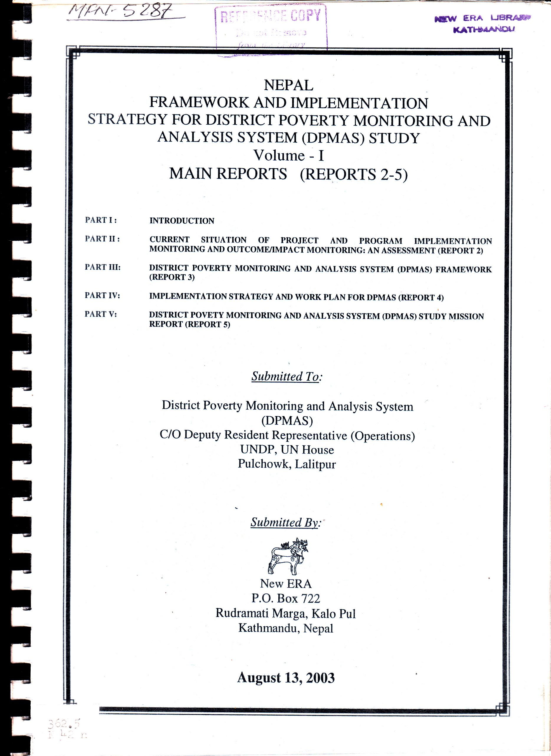 Nepal – Framework and Implementation Strategy for District Poverty Monitoring and Analysis System (DPMAS) Study