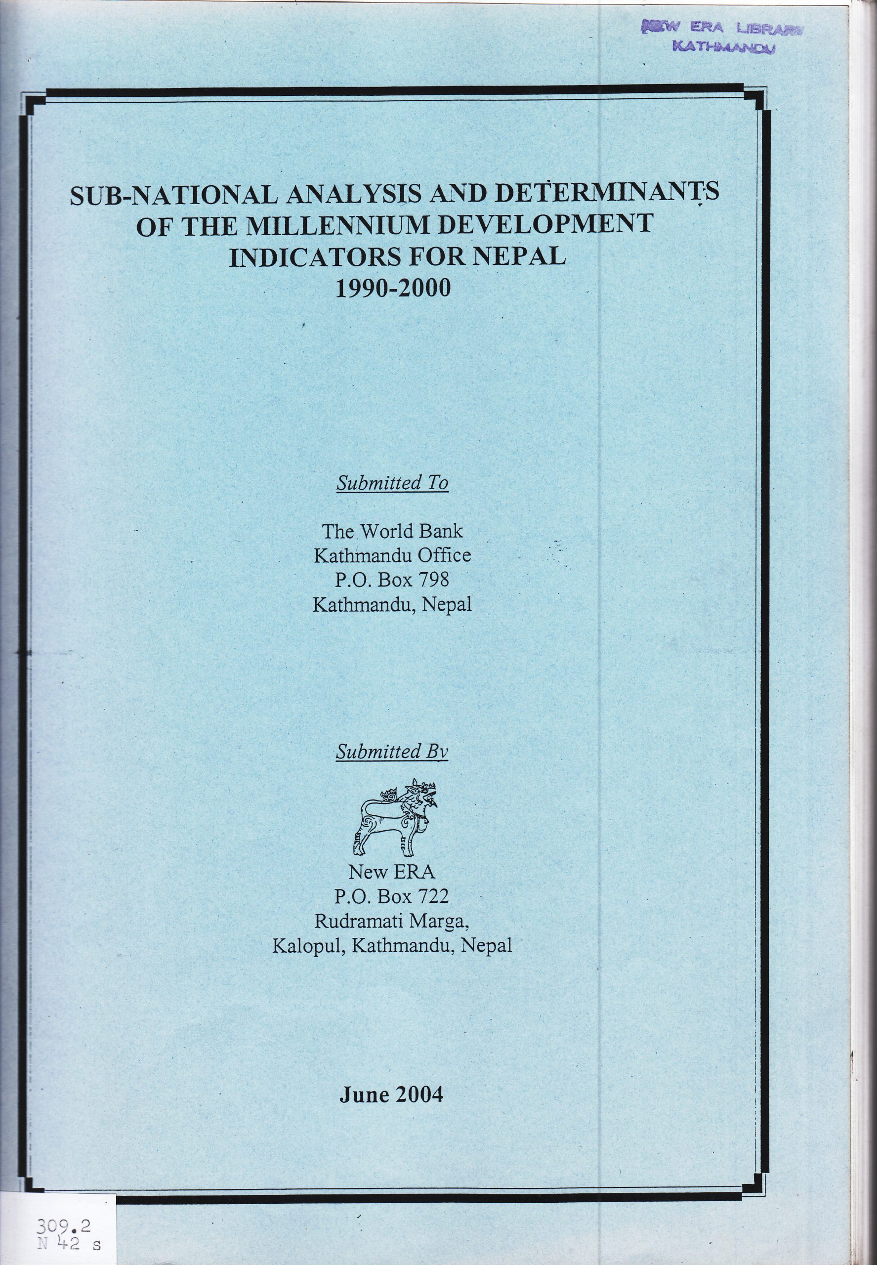 Sub-National Analysis and Determinants of the Millennium Development Indicators for Nepal 1990 – 2000