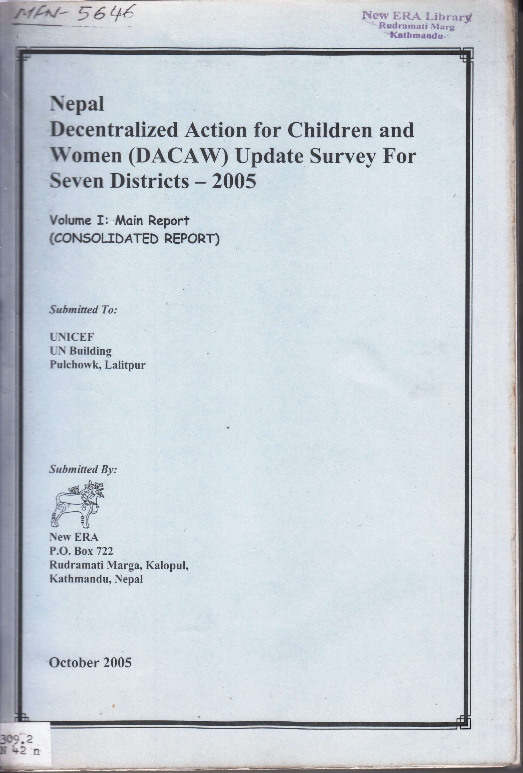 Nepal Decentralized Action for Children and Women (DACAW) Update Survey for Seven Districts 2005 – Consolidated Report