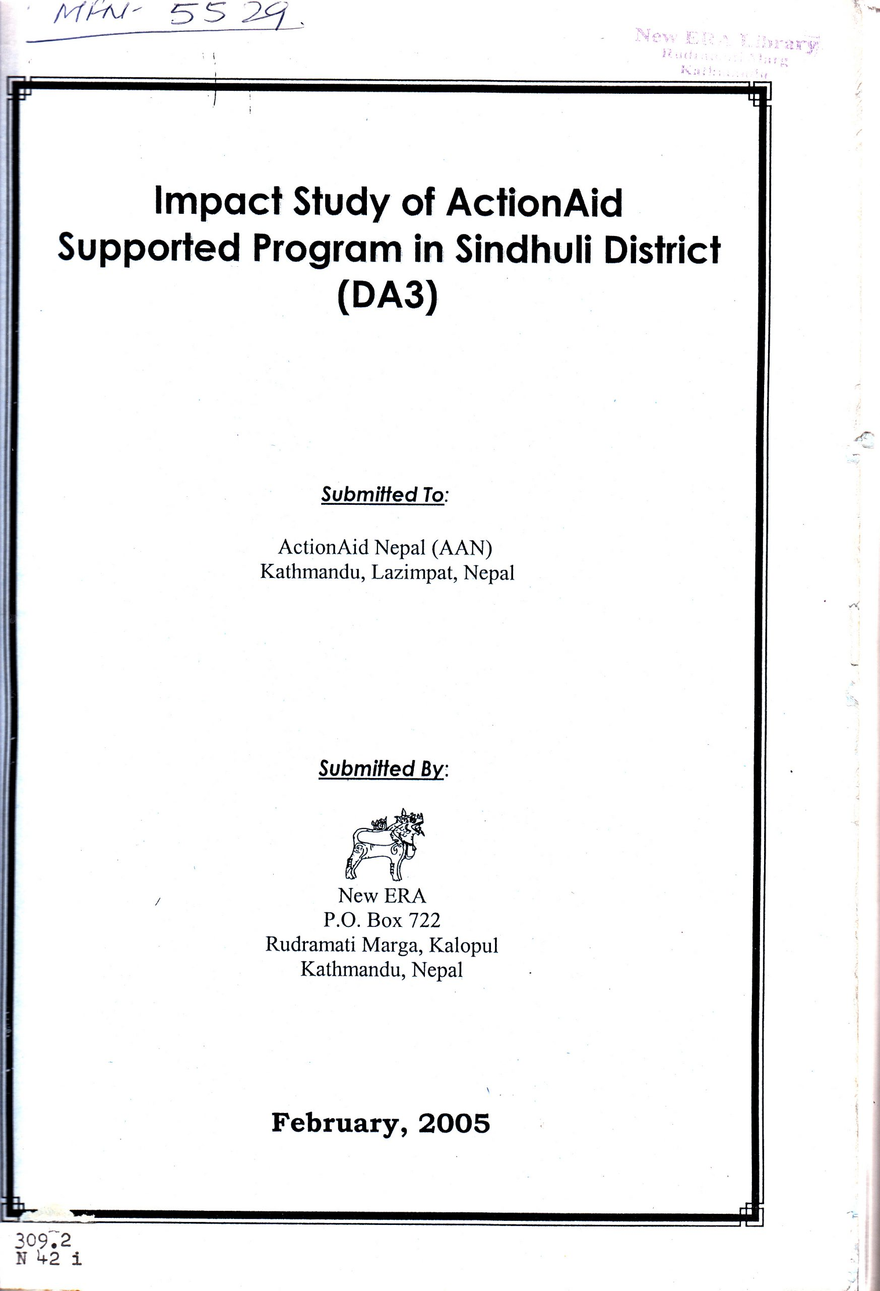 Impact Evaluation Study of ActionAid Nepal Supported Programs in Sindhuli District (DA 3)