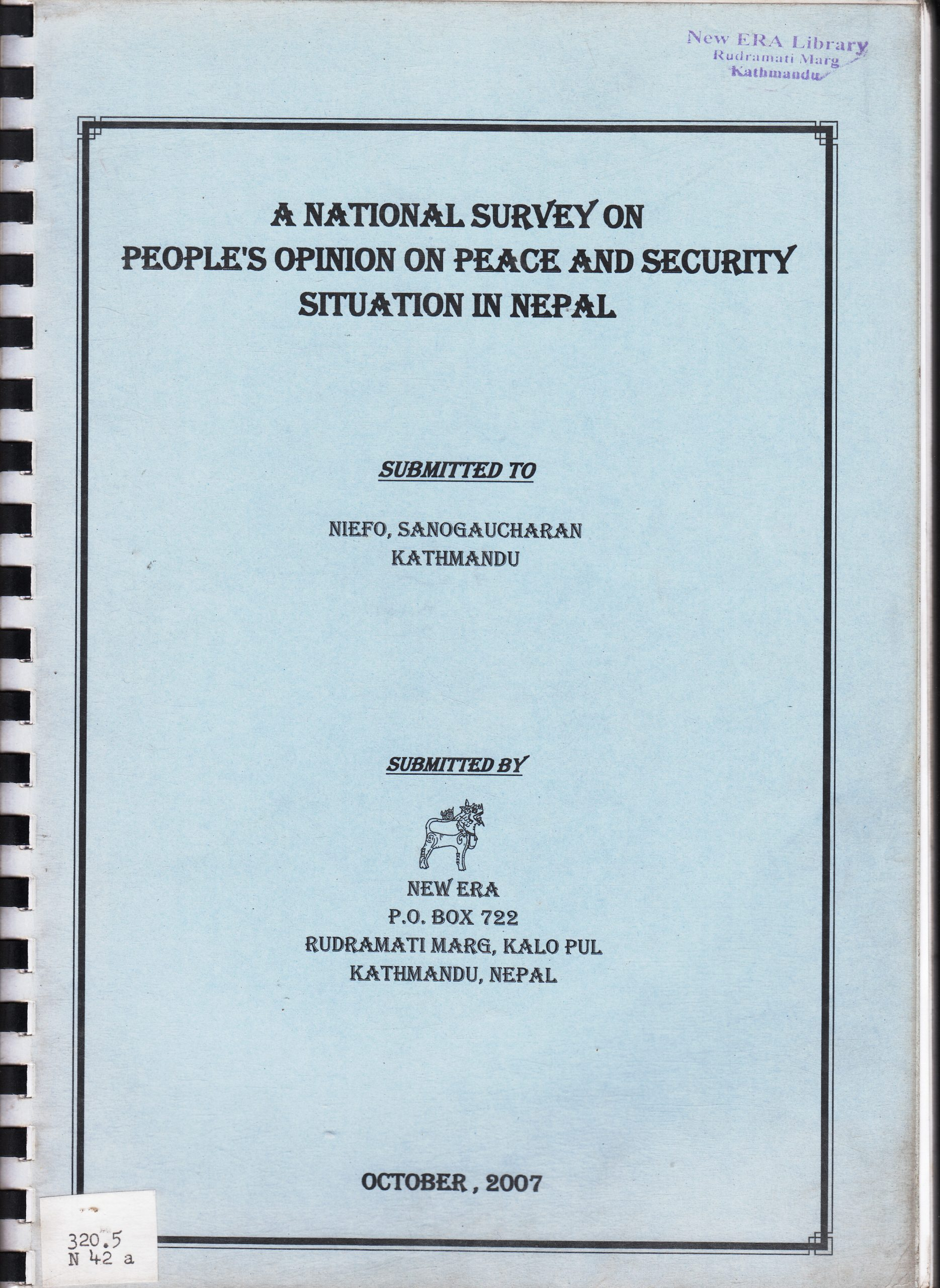 National Survey of the People's Opinion on the Peace and Security Situation in Nepal