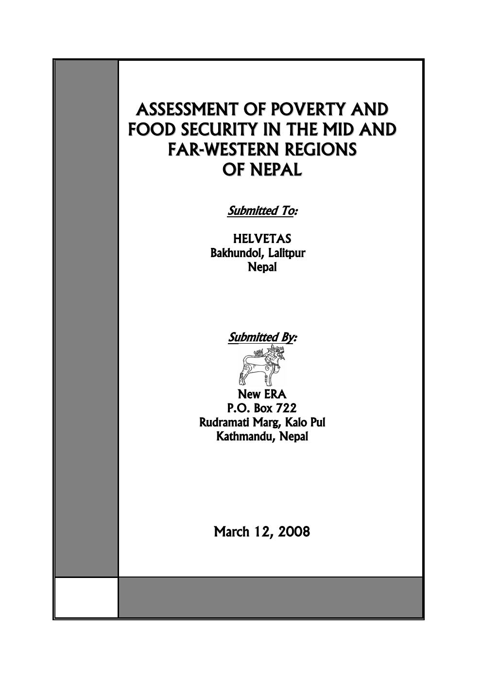 Assessment of Poverty and Food Security in the Mid and Far-Western Regions of Nepal