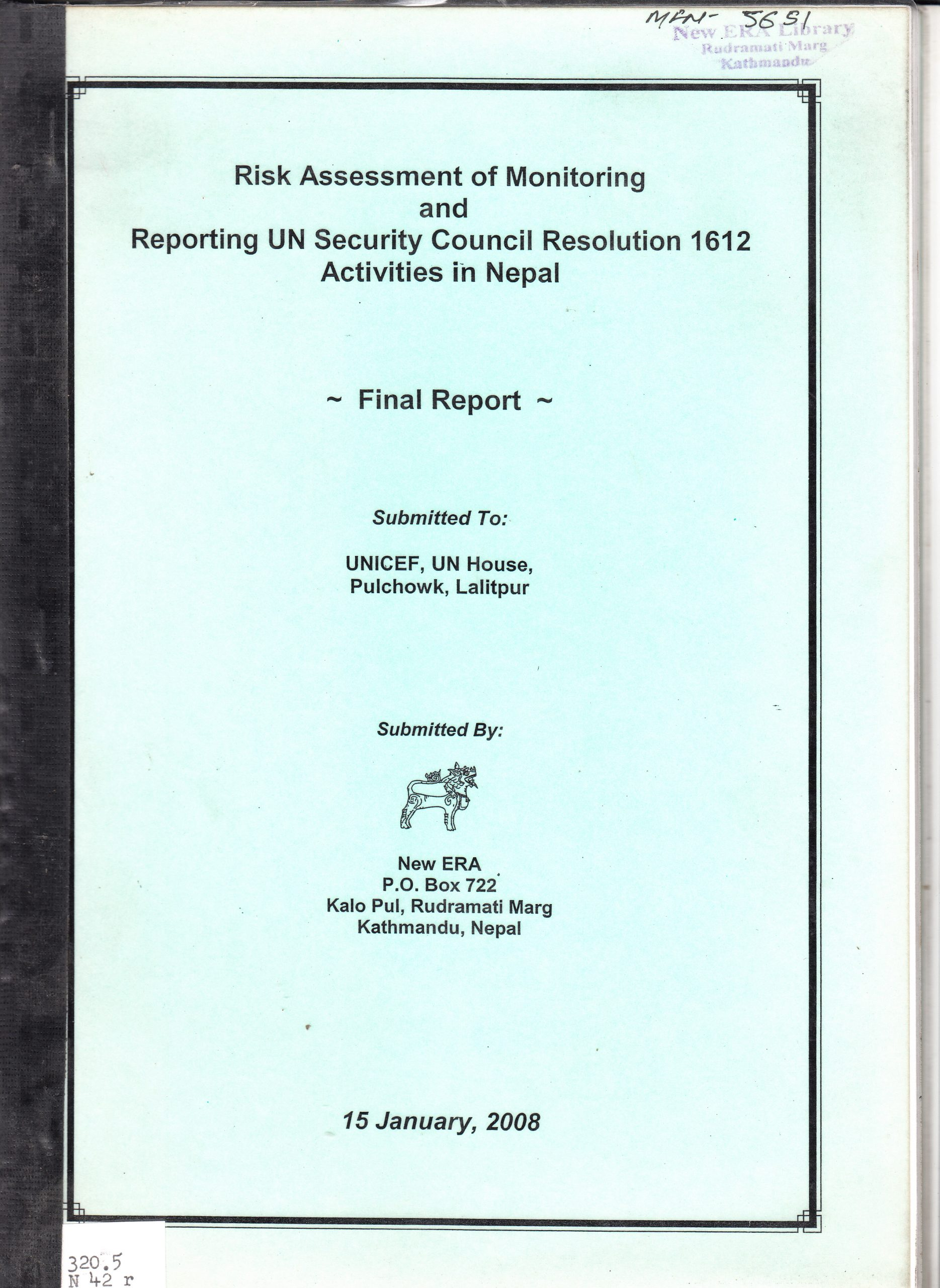 Risk Assessment of Monitoring and Reporting UN Security Council Resolution 1612 Activities in Nepal