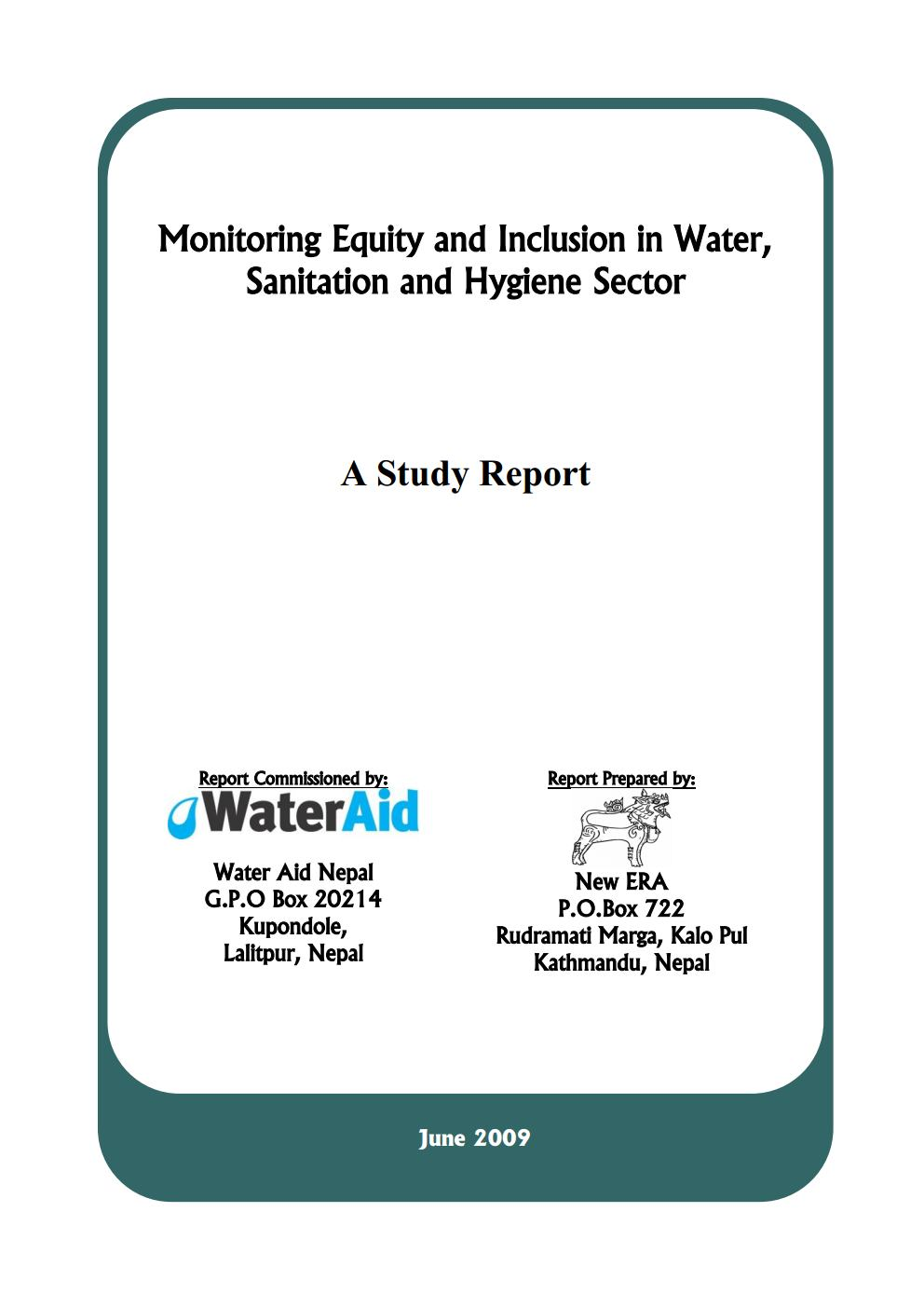 Monitoring Equity and Inclusion in Water, Sanitation and Hygiene Sector – A Study Report