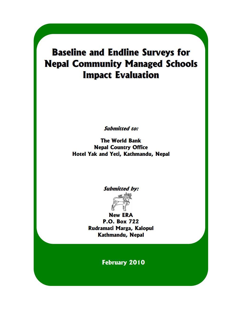 Baseline and End-line Surveys for Nepal Community Managed Schools Impact Evaluation