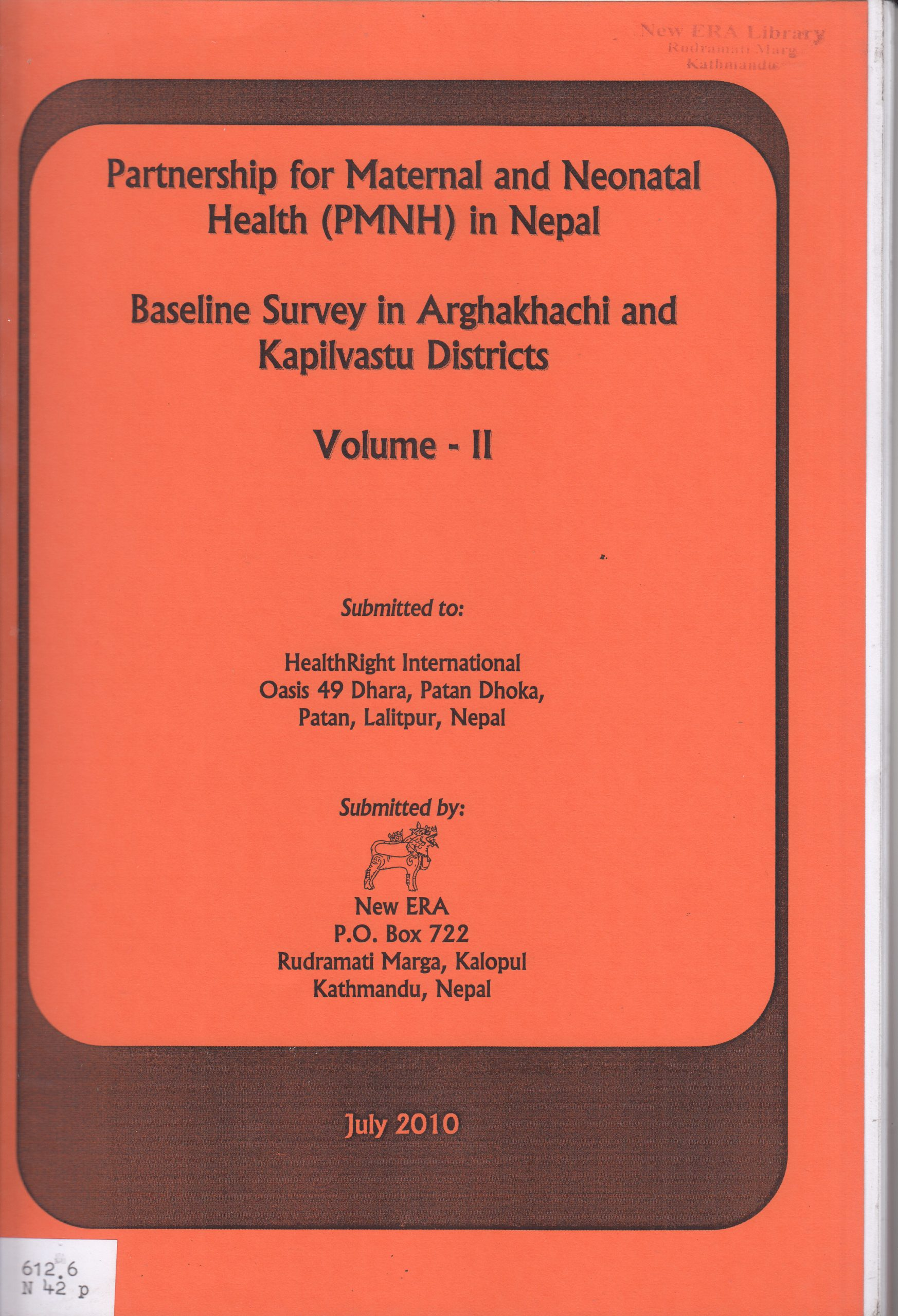 Partnership for Maternal and Neonatal Health in Nepal: Baseline Survey in Arghakhanchi and Kapilvastu Districts