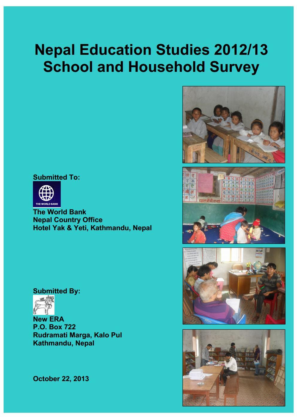 Nepal Education Studies 2012/13 – School and Household Surveys