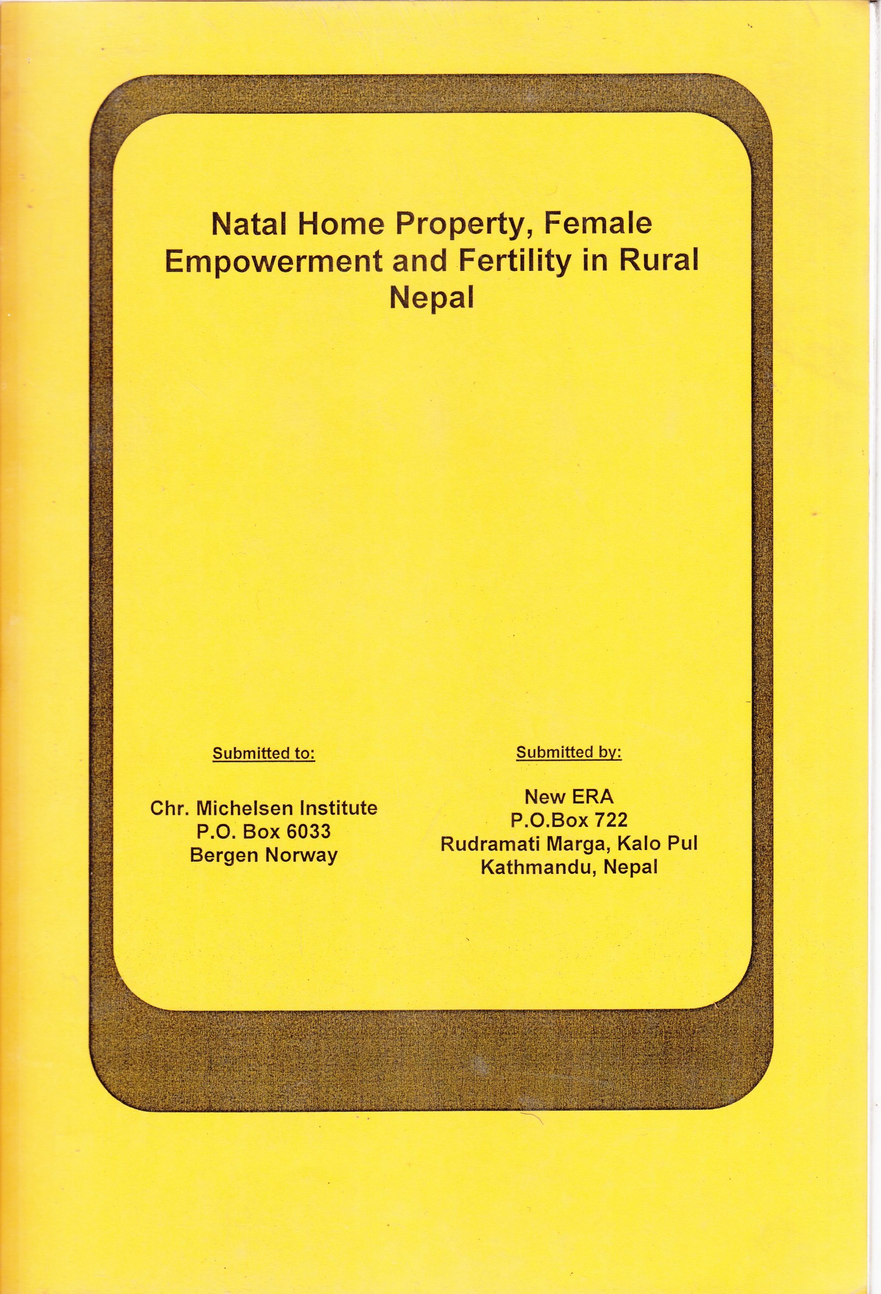 Natal Home Property, Female Empowerment and Fertility in Rural Nepal