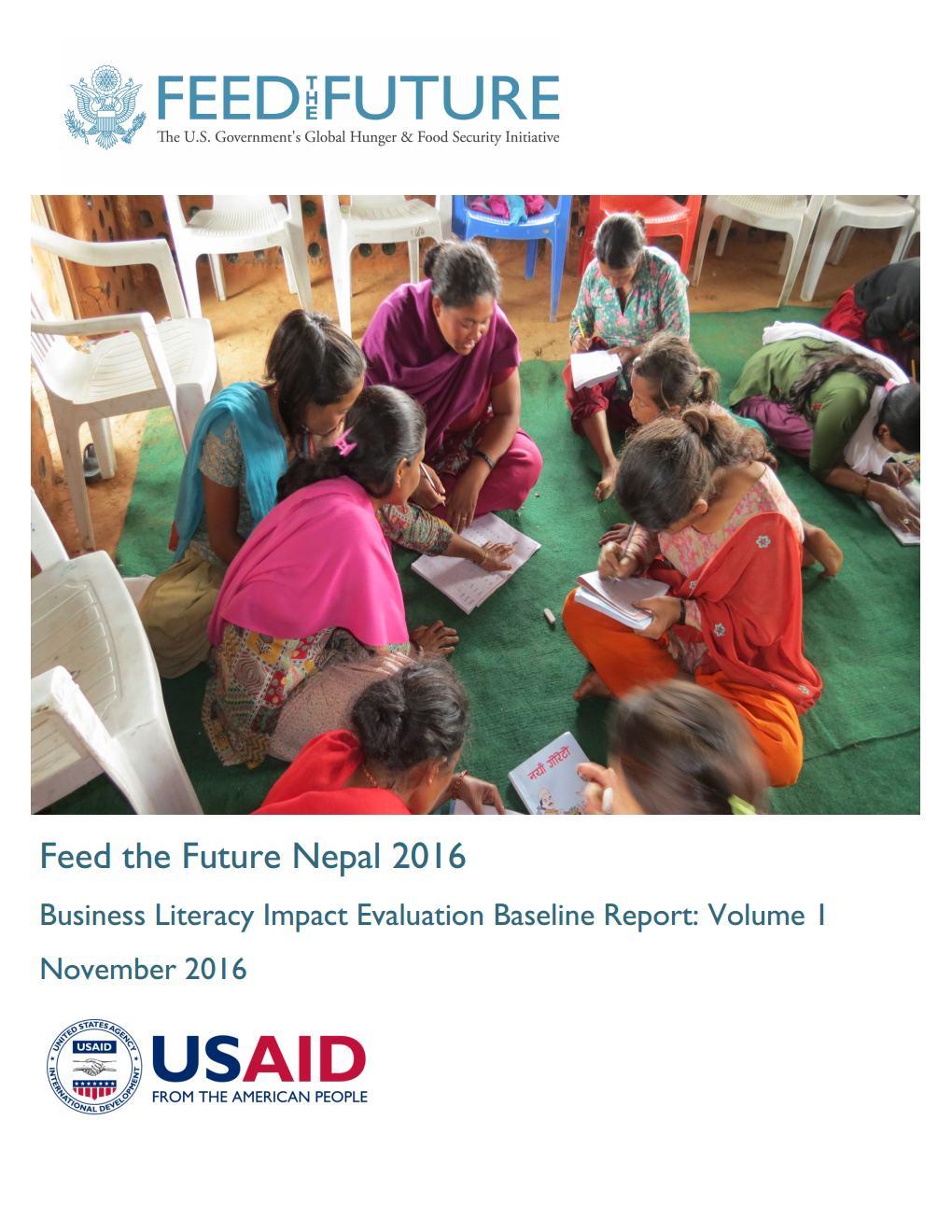 Feed the Future Nepal 2016: Business Literacy Impact Evaluation Baseline Survey