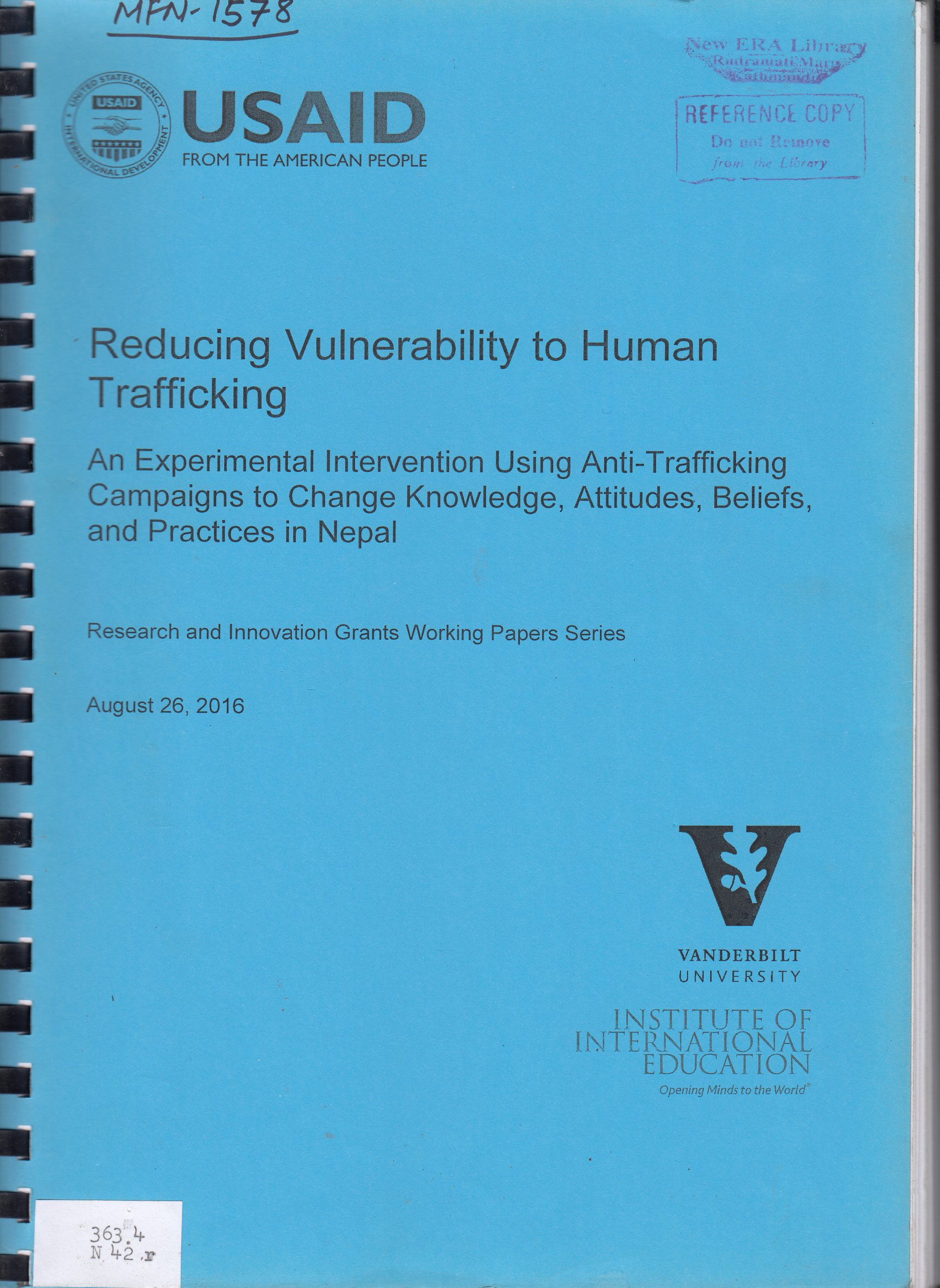 Reducing Vulnerability to Human Trafficking: An Experimental Intervention Using Anti-Trafficking Campaigns to Change Knowledge, Attitude, Beliefs, and Practices in Nepal