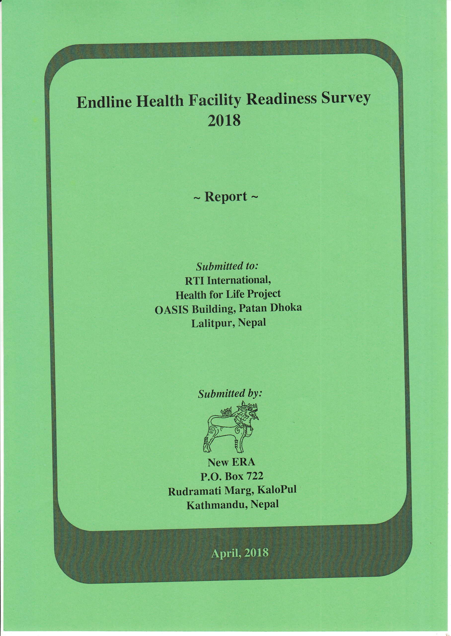 Endline Health Facility Readiness Survey 2018