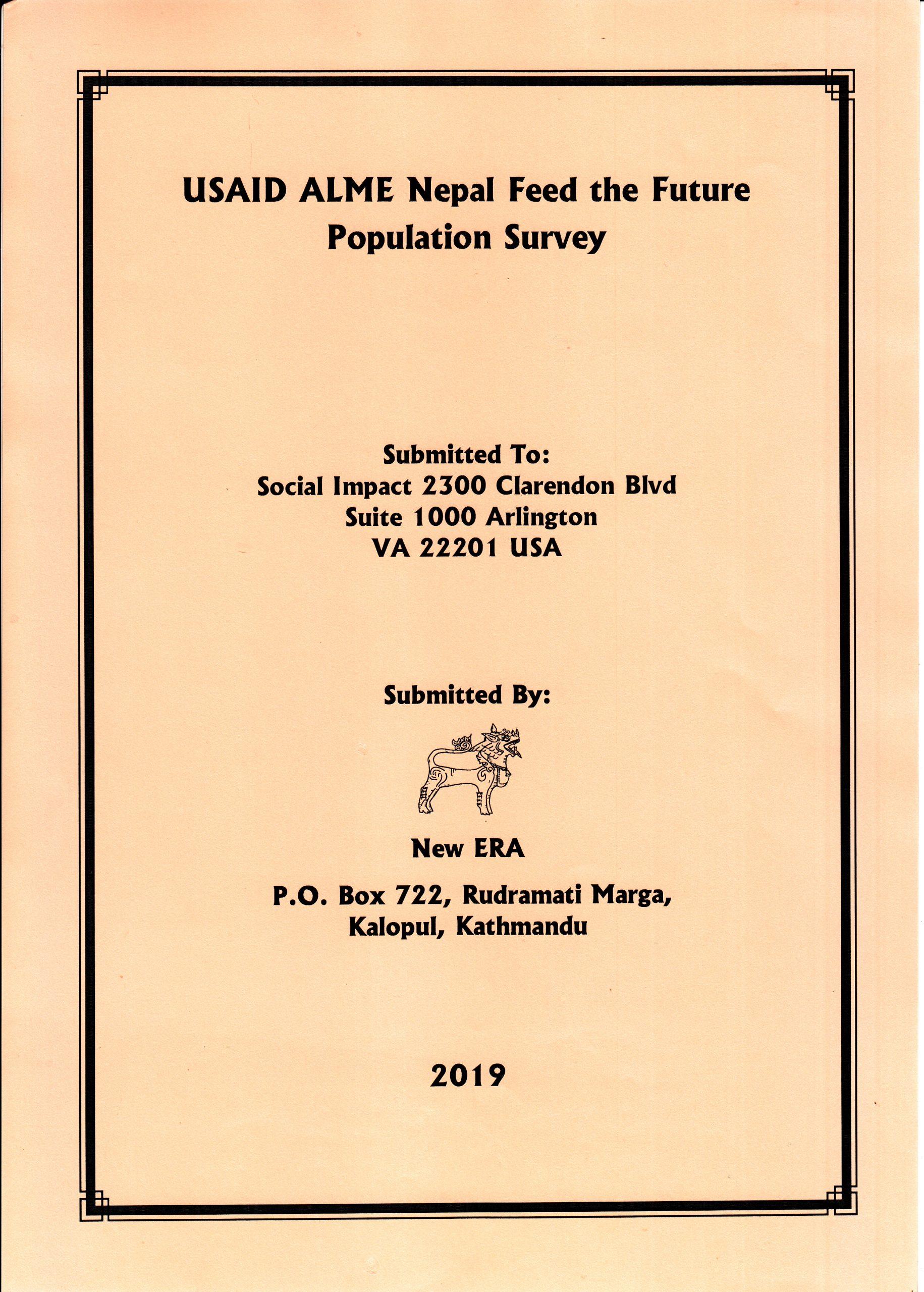 USAID ALME Nepal Feed the Future Population Survey