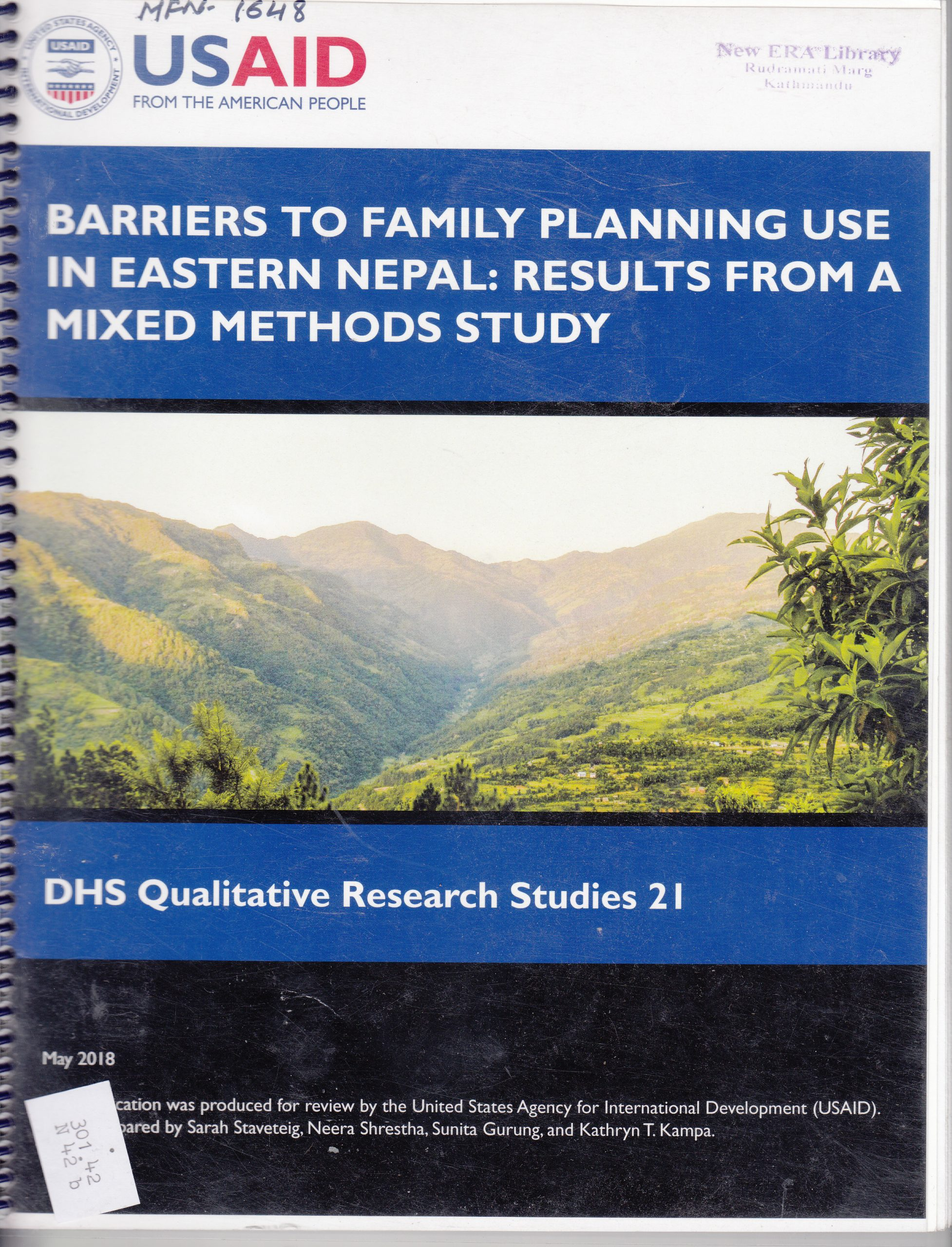 Barriers to Family Planning Use in Eastern Nepal: Results from a Mixed Methods Study