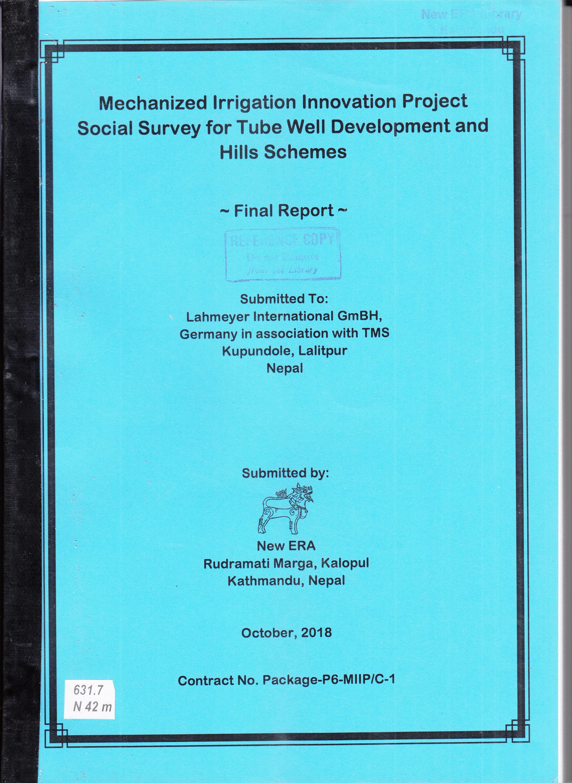 Mechanized Irrigation Innovation Project – Social Survey for Tube Well Development and Hills Schemes