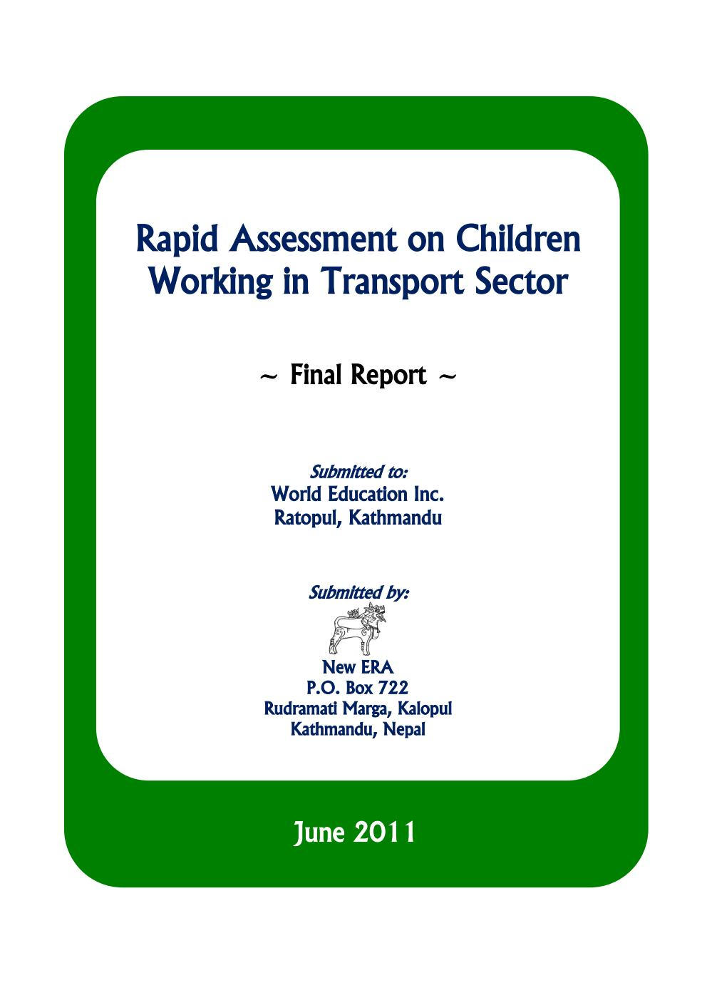 Rapid Assessment on Children Working in Transport Sector