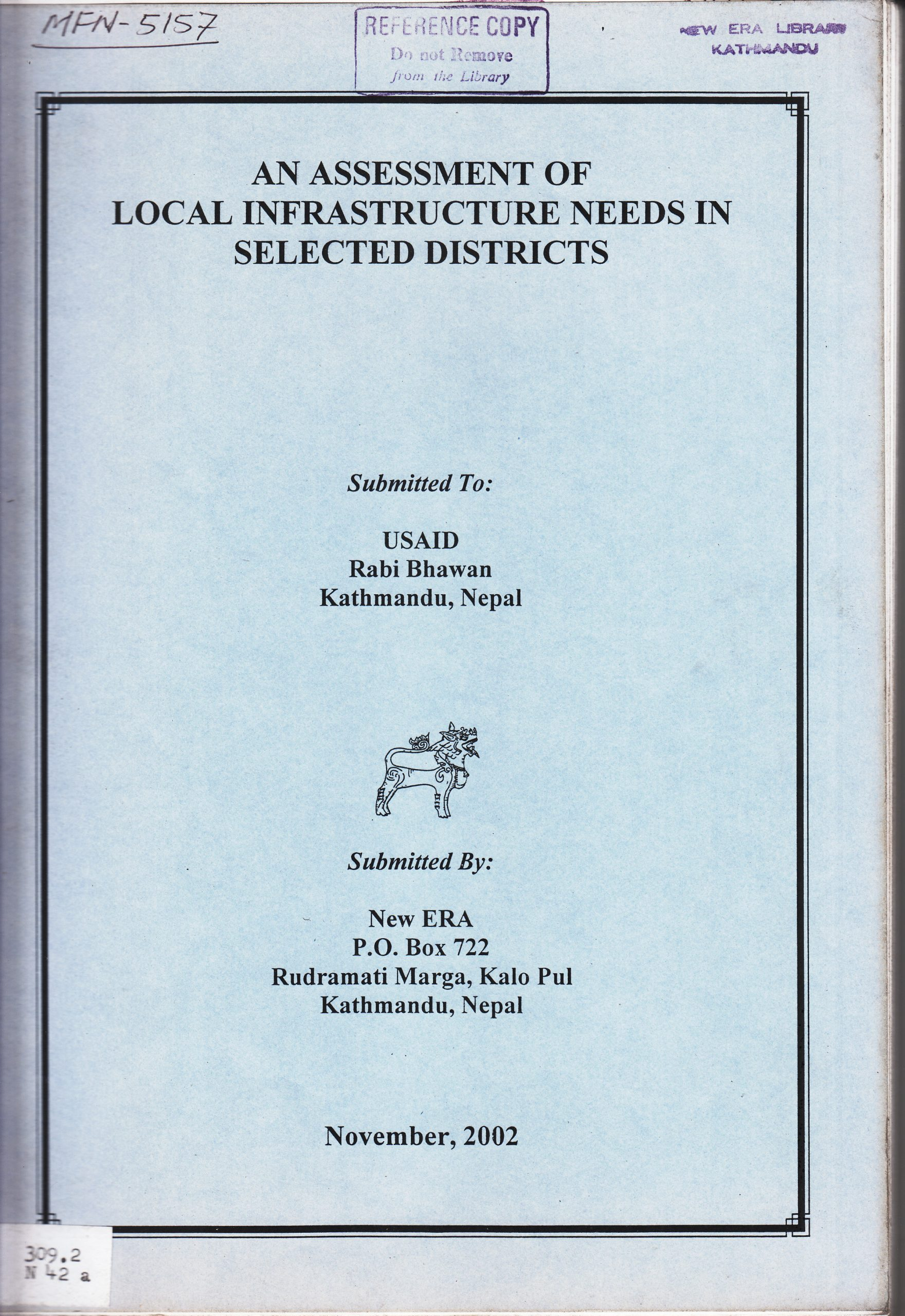 An Assessment of Local Infrastructure Needs in Selected Districts