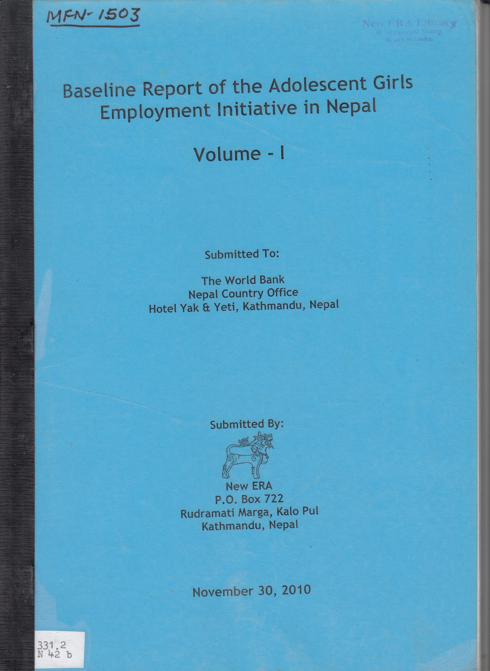 Baseline Survey of the Adolescent Girls Employment Initiative in Nepal