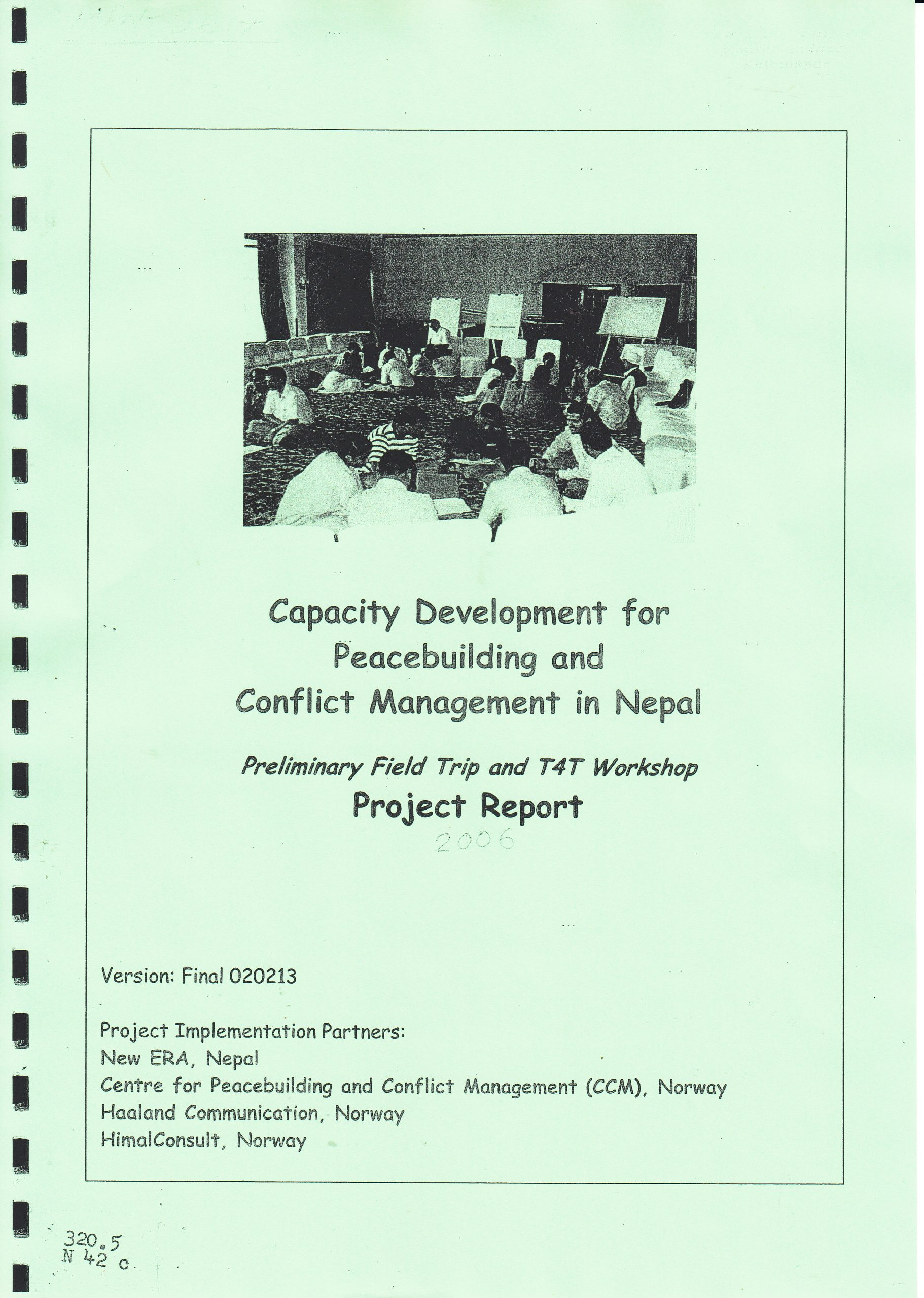 Capacity Development for Peace-building and Conflict Management in Nepal, Project Report