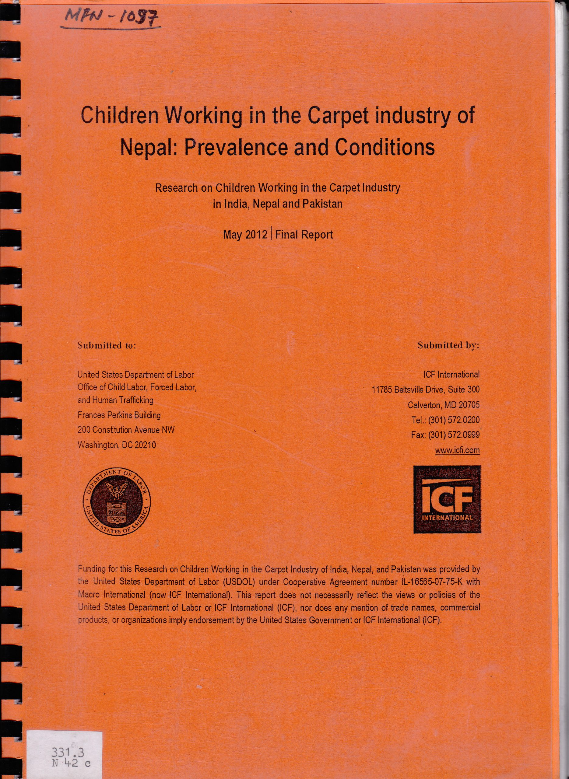 Children Working in the Carpet Industry of Nepal: Prevalence and Conditions